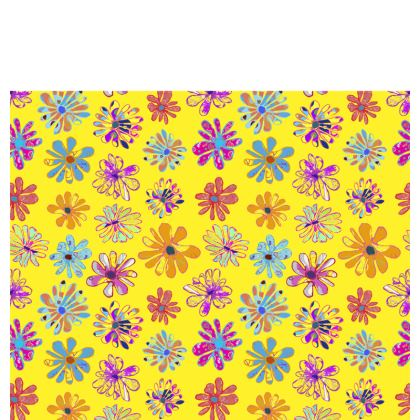 Rainbow Daisies Collection on yellow Cup and saucer