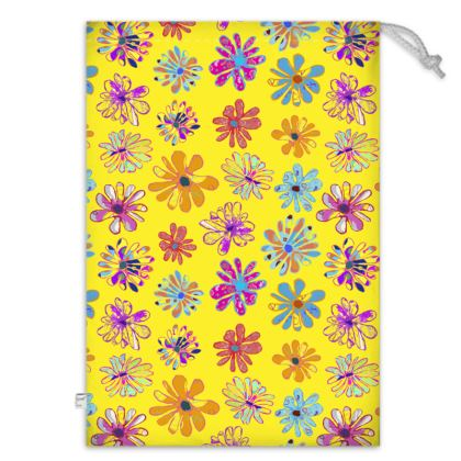 Rainbow Daisies Collection on yellow Toy Sack