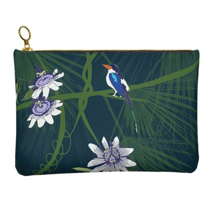 Paradise Kingfishers Collection - Luxury Leather Clutch