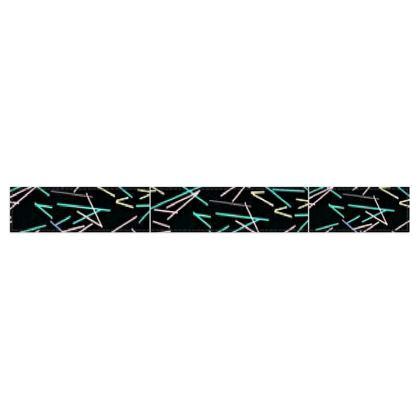 Multi-Color Line Design Black Fleece Scarf ©