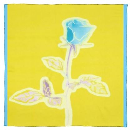Vibrant Yellow Scarf Wrap or Shawl With a Blue Rose ©