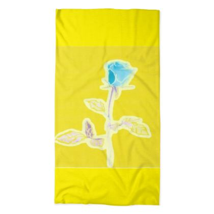 Vibrant Yellow and Blue Rose Neck Tube Scarf ©