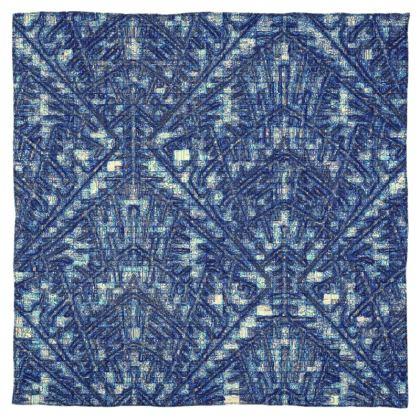 Mutli-Color Blue Diamond and Geometric Design Scarf Wrap or Shawl ©