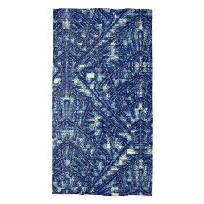 Multi-Color Blue Diamond and Geometric Design Neck Tube Scarf ©