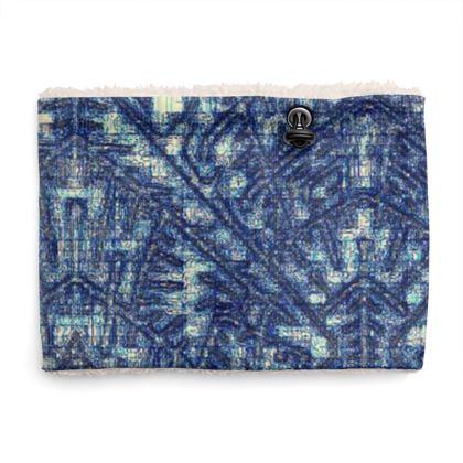 Multi-Color Blue Diamond and Geometric Design Sherpa Snood ©