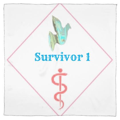 Blue Dove and Pink Caduceus Symbol With Survivor 1 Text Scarf Wrap or Shawl ©