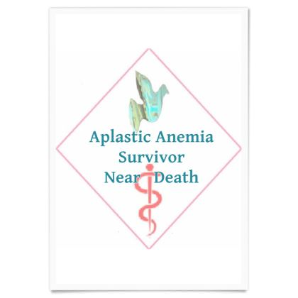 Blue Dove and Pink Caduceus Paper Poster For Survivors of Extreme Aplastic Anemia ©