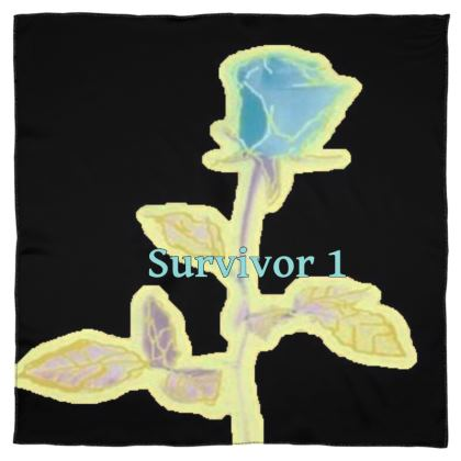 Illuminated Blue Rose Display on a Scarf Wrap or Shawl With Survivor 1 Text ©