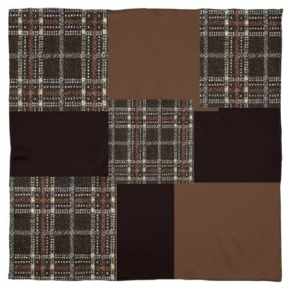 Mix-Matched Brown Shades and White Box Designs  ©  Scarf or Wrap