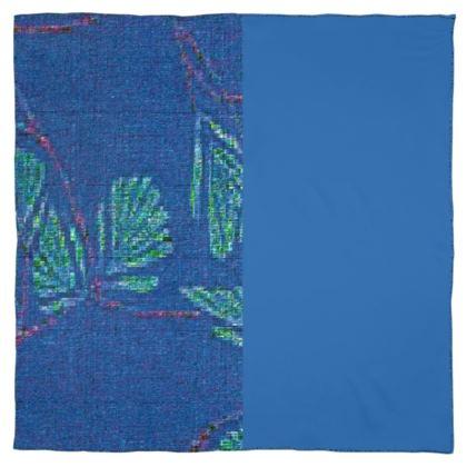 Blue Leaf Design  © Scarf Wrap or Shawl