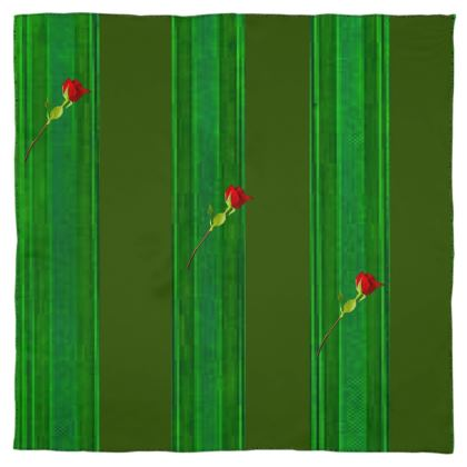 Green Stripe and Rose Design © Scarf Wrap or Shawl