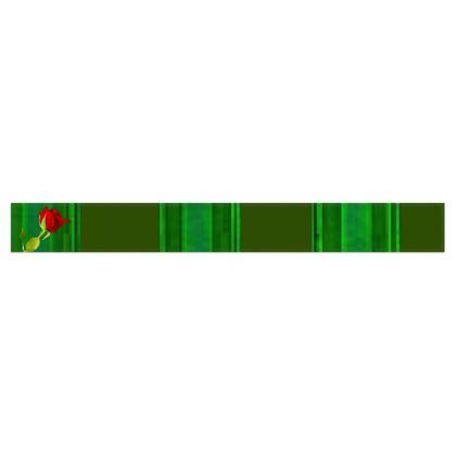 Green Stripe and Rose Design © Fleece Scarf