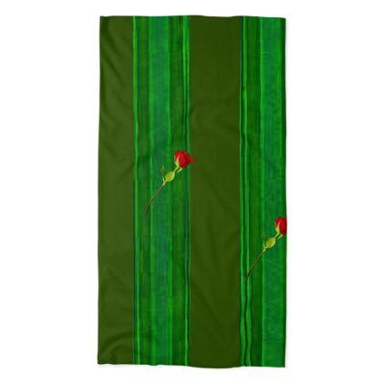 Green Stripe and Rose Design Neck Tube Scarf ©