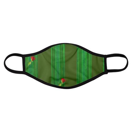 Green Stripe and Rose Design © Face Mask Four Pack