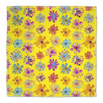 Rainbow Daisies Collection on yellow Napkins