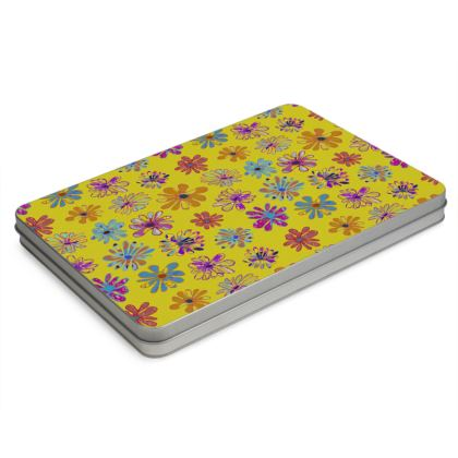 Rainbow Daisies Collection on yellow Pencil Case Box