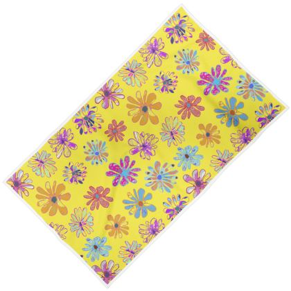 Rainbow Daisies Collection on yellow Towel