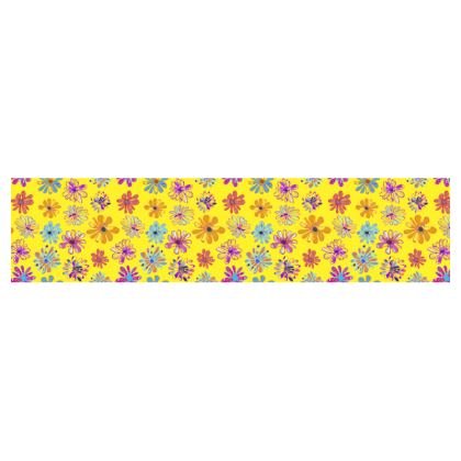Rainbow Daisies Collection on yellow Table Runner