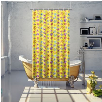 Rainbow Daisies Collection on yellow Shower Curtain
