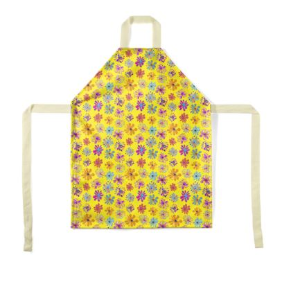 Rainbow Daisies Collection on yellow Apron
