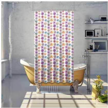 Rainbow Daisies Collection Shower Curtain