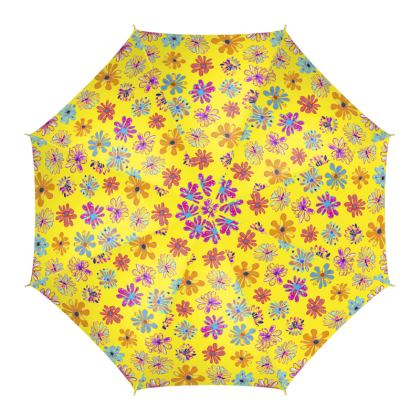 Rainbow Daisies Collection on yellow Umbrella