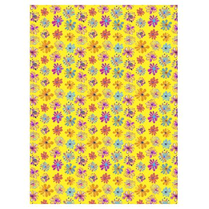 Rainbow Daisies Collection on yellow Suitcase