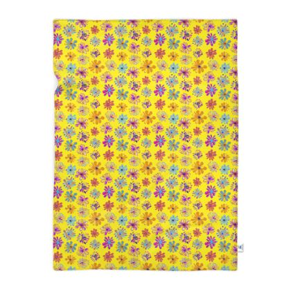 Rainbow Daisies Collection on yellow Blanket