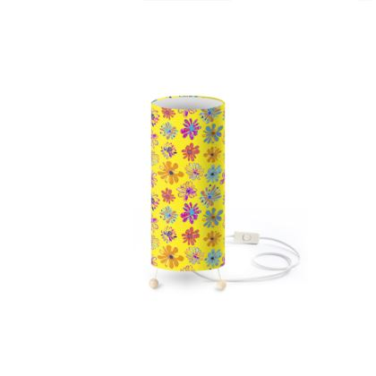 Rainbow Daisies Collection on yellow Standing Lamp