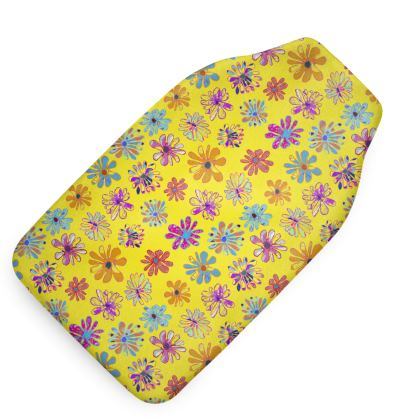 Rainbow Daisies Collection on yellow Hot Water Bottle