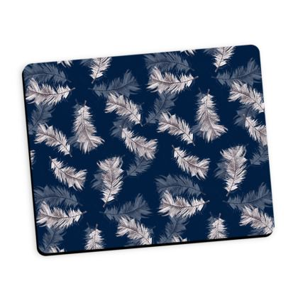 Navy feather mouse mat