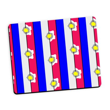 Striped flower mouse mat