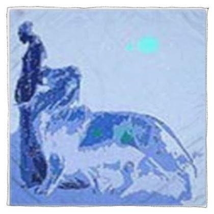 Blue Women With Lion © Scarf Wrap or Shawl