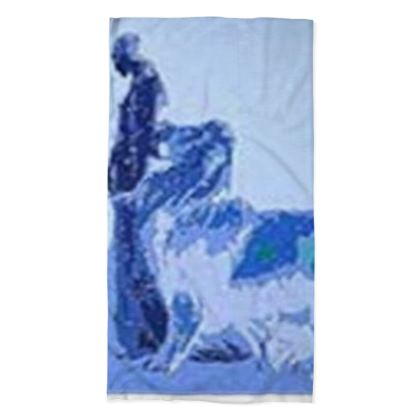 Blue Women With Lion Neck Tube Scarf ©
