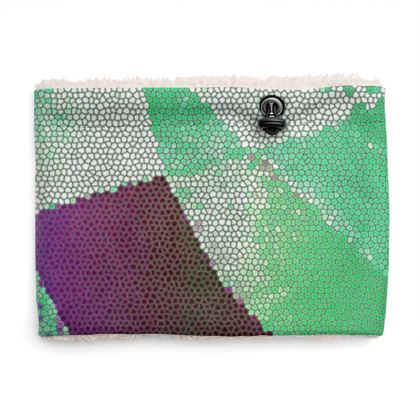 Purple and Green Abstract Design Sherpa Snood ©