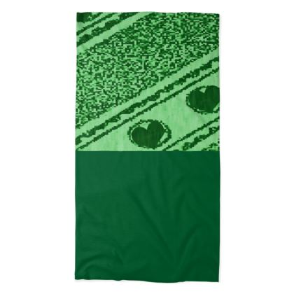 Shades of Green Line and Heart Design Neck Tube Scarf ©