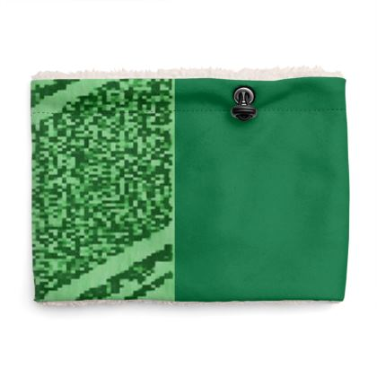 Shades of Green Line and Heart Design Sherpa Snood ©