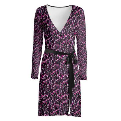 The Magenta Leopard Print Wrap Dress