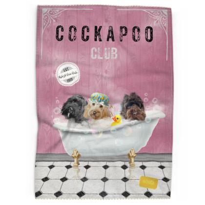 Cockapoo club RUB-A-DUB-DUB Pink Tea Towels