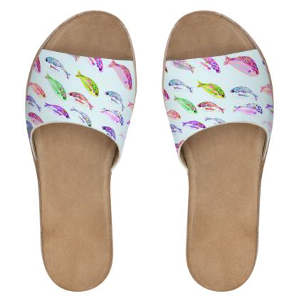 Tropical Fish Collection Womens Leather Sliders