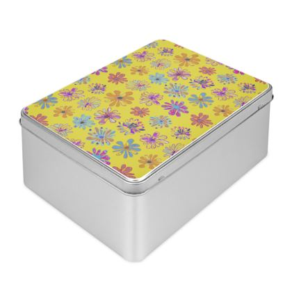 Rainbow Daisies Collection on yellow Biscuit Tin