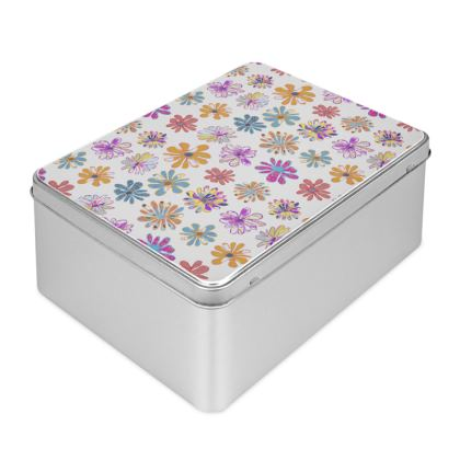Rainbow Daisies Collection Biscuit Tin