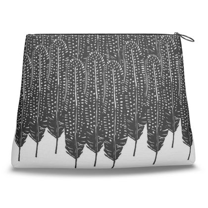 Black & White Feather Wilderness Clutch Bag