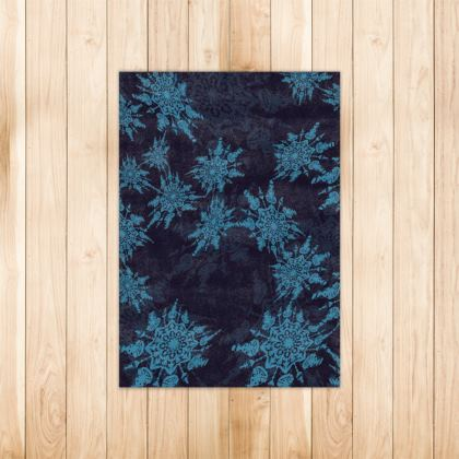 Snow Flake Collection (Blue) - Luxury Rug