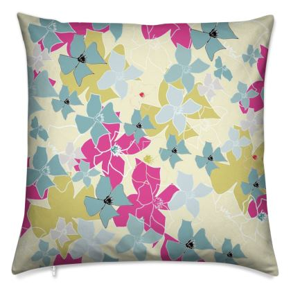 Clematis Collection (Yellow) - Luxury Cushion