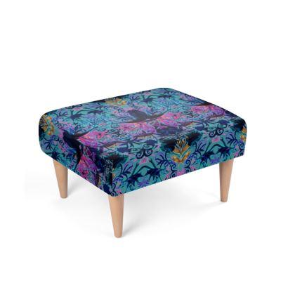 Blue Printed Footstool