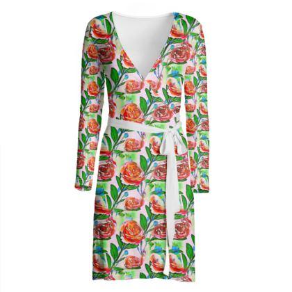 Summer Floral Print Wrap Dress