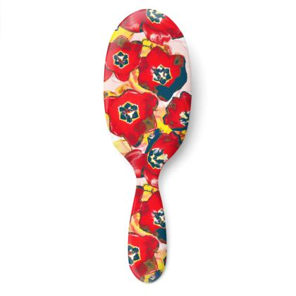 Red & Yellow Floral Hair Brush