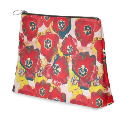 Red Lilly Printed Purse/ Clutch Bag