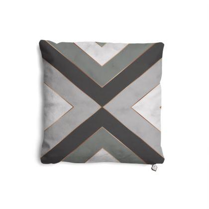 gray geometrical pillow set
